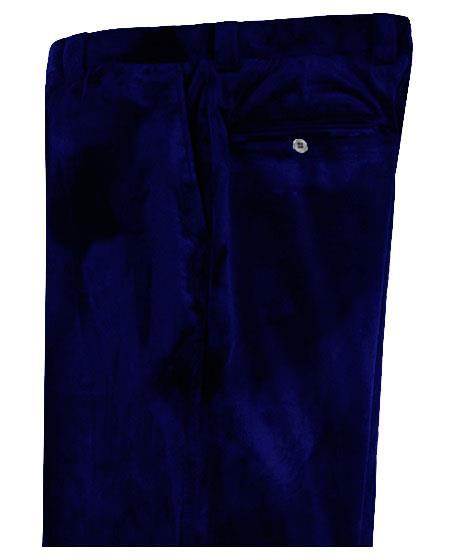 Mens Dark Navy Blue Velvet Pants Flat Front Unhemmed Unfinished Bottom
