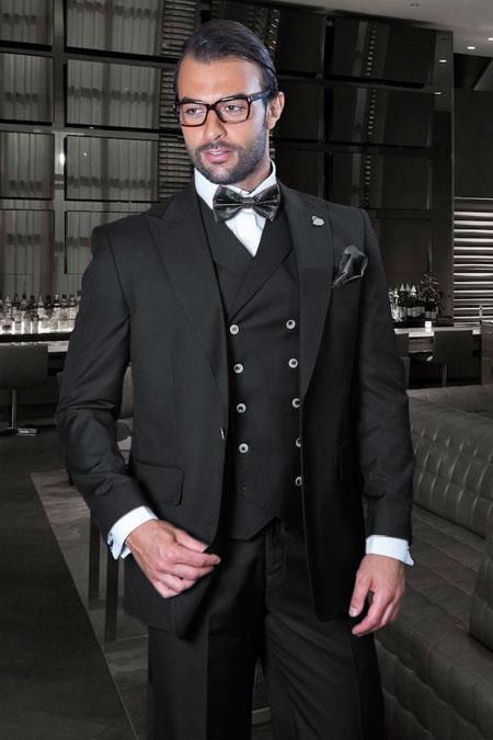 Classic Fit Suit - One Button with Double Breasted Vest Super 150s Wool Suit - Color: Solid Black