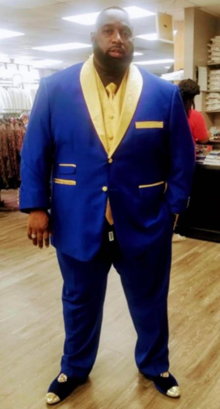 Royal Blue and Gold Lapel + Gold Vest + Black Shirt + Gold Tie