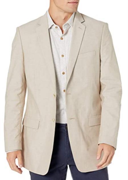 Mens Chambray Sportcoat - Chambray Blazer - Summer Cotton Blazer Tan
