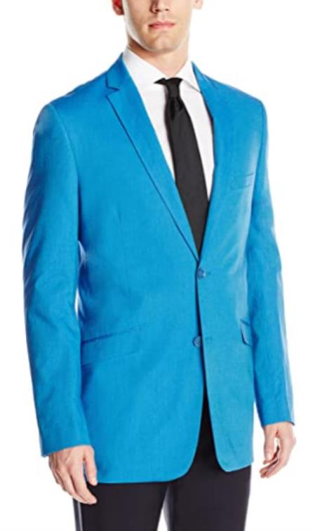 Mens Chambray Sportcoat - Chambray Blazer - Summer Cotton Blazer Blue