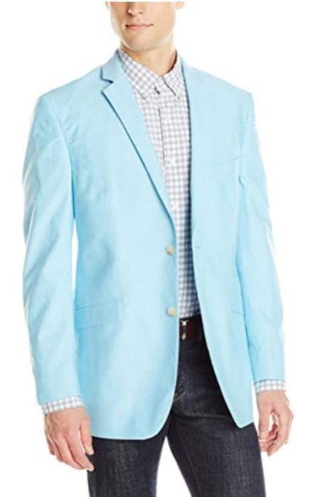Mens Chambray Sportcoat - Chambray Blazer - Summer Cotton Blazer Sky Blue