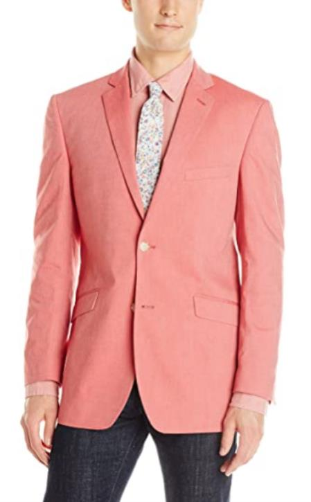 Mens Chambray Sportcoat - Chambray Blazer - Summer Cotton Blazer Red