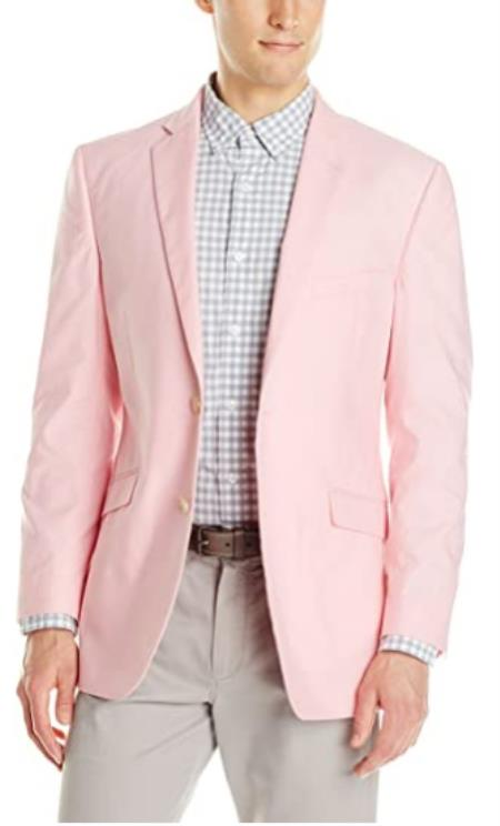 Mens Chambray Sportcoat - Chambray Blazer - Summer Cotton Blazer Pink