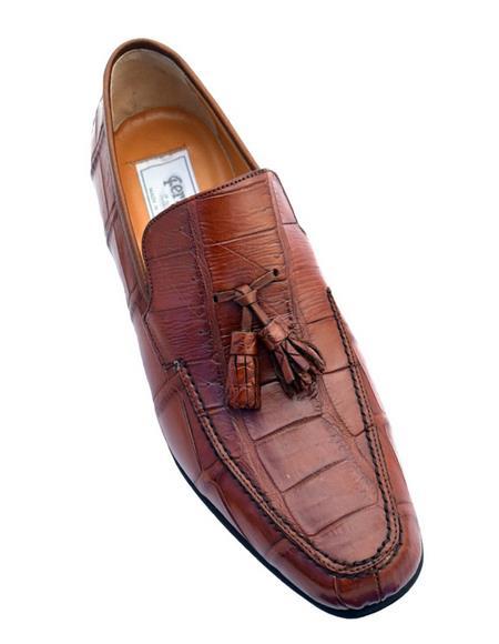 Mens Genuine Crocodile Loafers Cognac