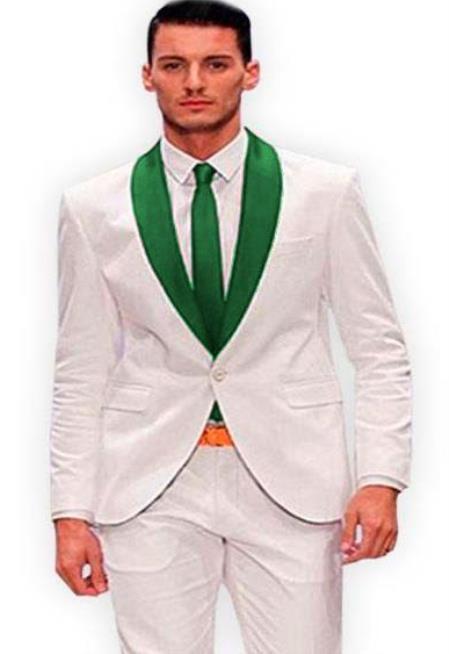 White and Green Lapel Tuxedo