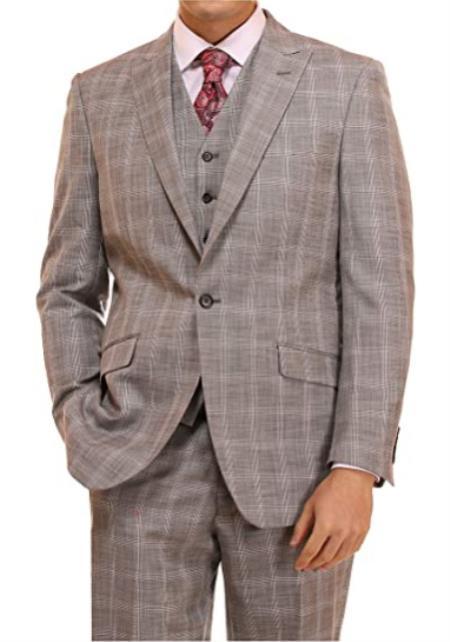 Mens Suit 3 Piece Plaid and Pinstripe Suit Grey Glen