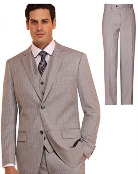 Mens Suit 3 Piece Plaid and Pinstripe Suit Grey