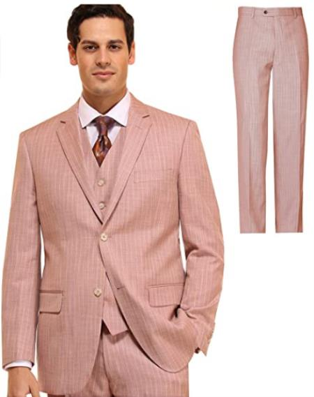Mens Suit 3 Piece Plaid and Pinstripe Suit Peach ~ Pink ~ Coral