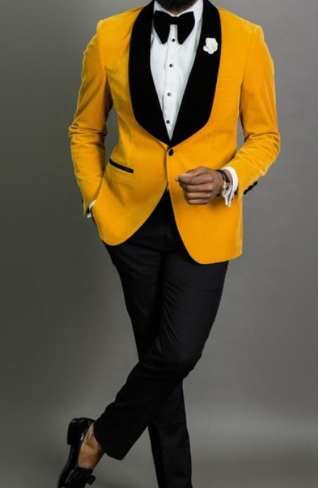 Mens Mustard Blazer - Velvet Sport Coat - Gold Sport Jacket