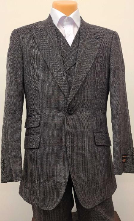 Mens Suit -  100% wool - Classic Fit Suit - Pleated Pants - Suit With Double Breasted Vest