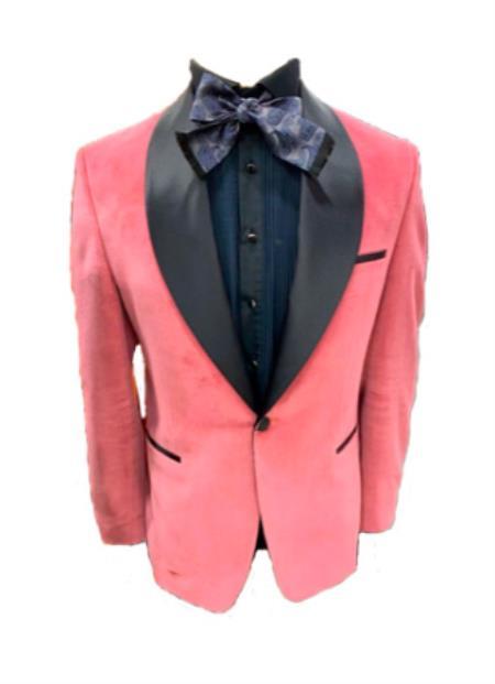 Mens Shawl Lapel One Button Pink Colour