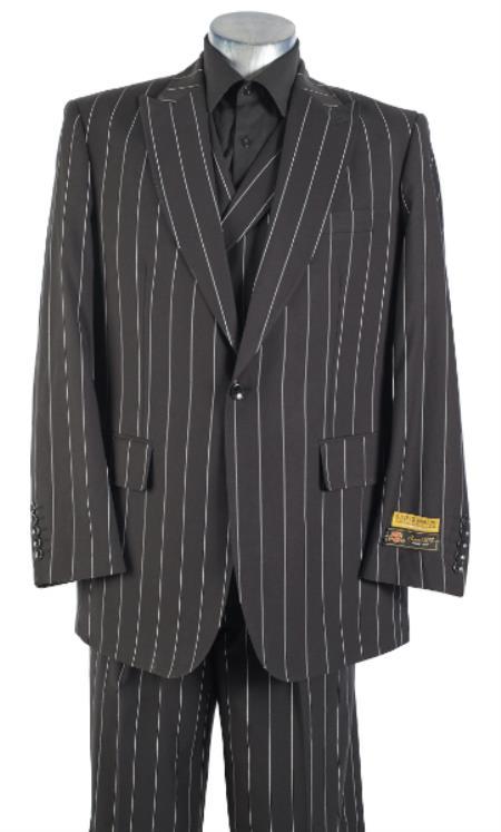 Black Pinstripe Suit - Double Breasted Vested Suit - Pleated Pants - Classic Fit Suit - Wool Suit