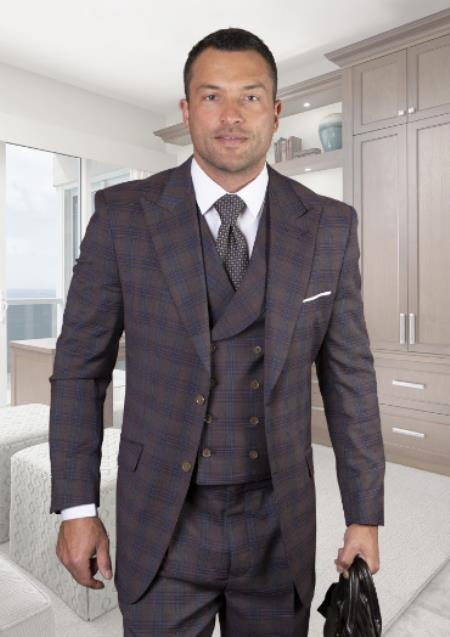 Classic Fit - Pleated Pants - Plaid Pattern - Vested Suit 3 Pieces - Wool Suits + Apula Brown Suit Color