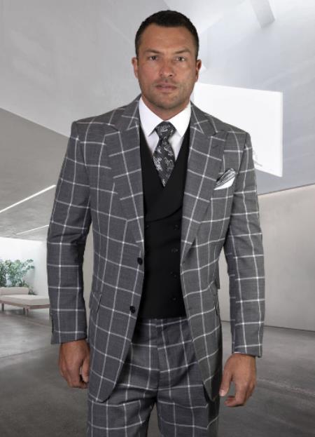 Classic Fit - Pleated Pants - Plaid Pattern - Vested Suit 3 Pieces - Wool Suits + Revena-Black Suit Color