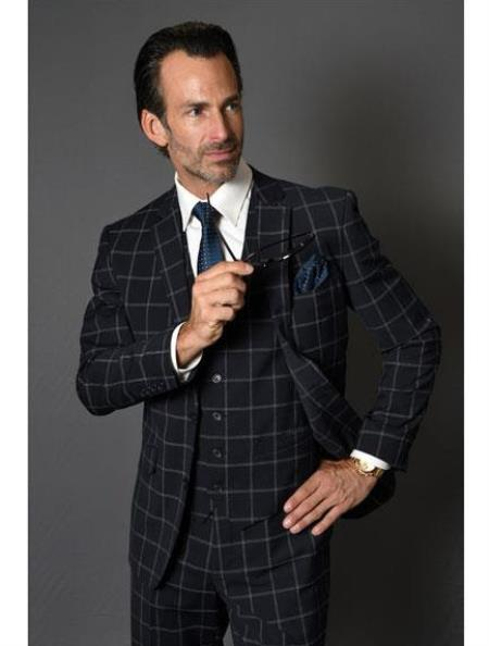 Black Plaid Suit - Black Windowpane Wool Suit