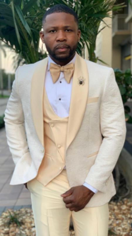 Champaign Suit - Mens Cream Suit - Ivory Suit - Off White Suit