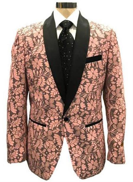 Mens Pink Blazer - Paisley Blazer - Prom Tuxedo
