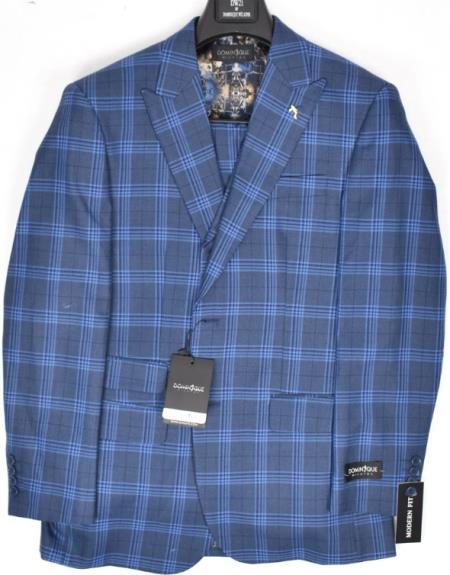 9855-2 Dominique Wilkins Vested Peak Lapel Suit - Plaid Suit 3 Piece Suit
