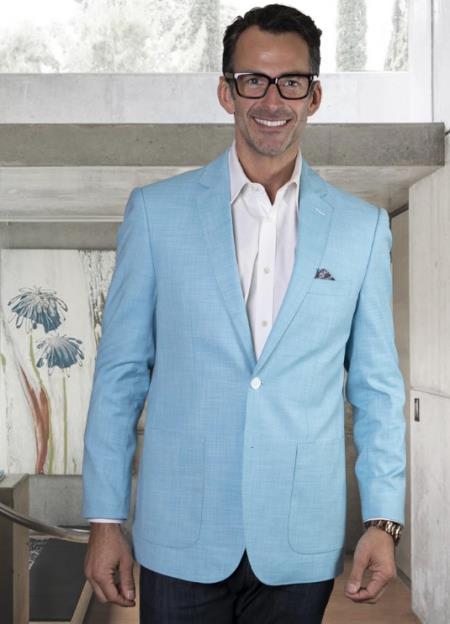 Mens Two Button Notch Lapel Blazer Turquoise