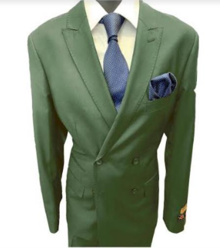 Mens Double Breasted Peak Lapel Hunter Green Suit