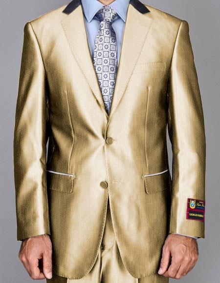 Mens Shiny Two Buttons Suits Flat Front Pants Gold