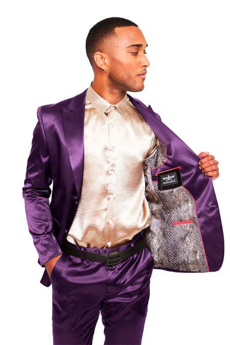 Mens Two Buttons Peak Lapel Slim- Fit Suit Lavender