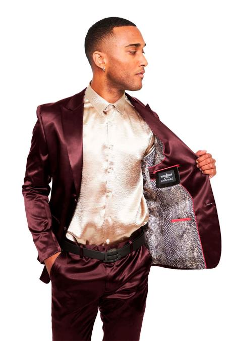 Mens Two Buttons Peak Lapel Suit Red ~ Burgundy