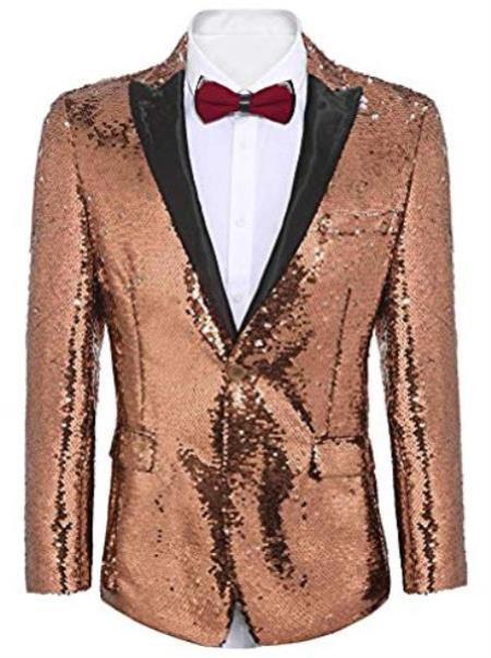 Mens Big and Tall Sequin Blazer - Shiny Fancy Sport Coat + Matching Bowtie + Rose Gold Tuxedo