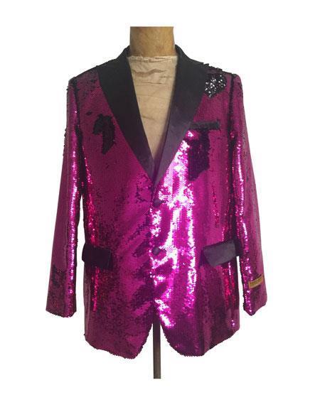 Mens Big and Tall Sequin Blazer - Shiny Fancy Sport Coat + Matching Bowtie + Hot Pink Tuxedo