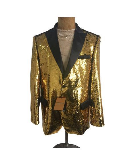 Mens Big and Tall Sequin Blazer - Shiny Fancy Sport Coat + Matching Bowtie + Gold Tuxedo