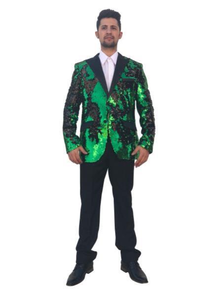 Mens Big and Tall Sequin Blazer - Shiny Fancy Sport Coat + Matching Bowtie + Green ~ Black Tuxedo
