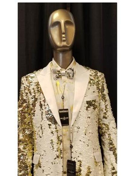Mens Big and Tall Sequin Blazer - Shiny Fancy Sport Coat + Matching Bowtie + White ~ Gold Tuxedo