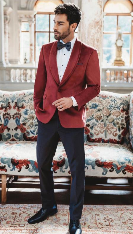 Mens Velvet Dinner Jacket - Mens Tuxedo Blazer With Trim Shawl Collar Red