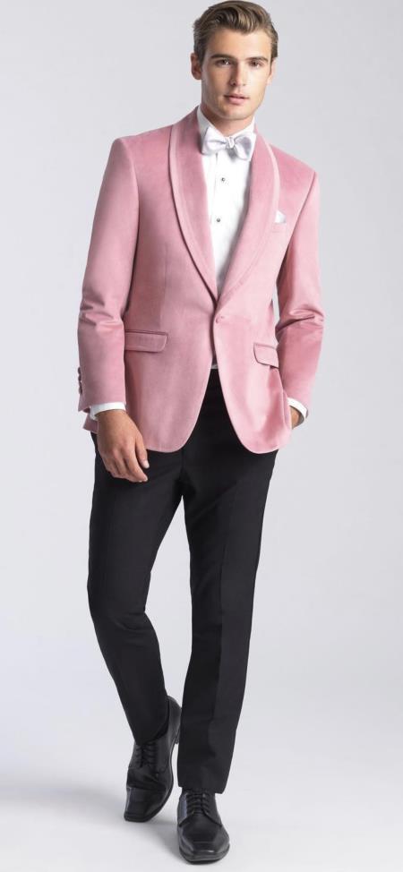 Mens Velvet Dinner Jacket - Mens Tuxedo Blazer With Trim Shawl Collar Pink