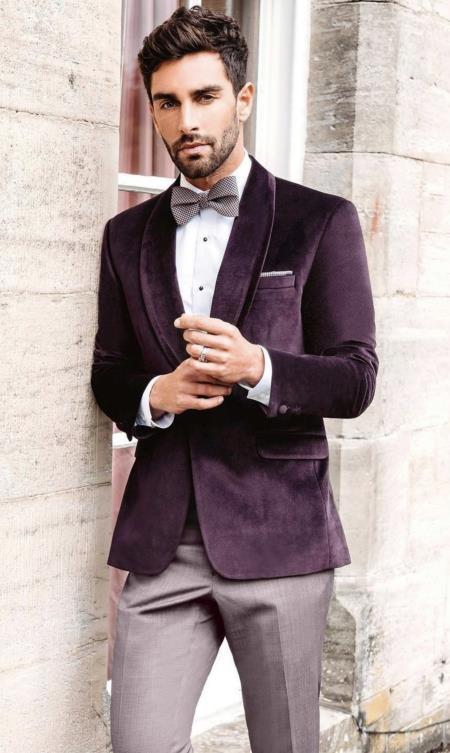 Mens Velvet Dinner Jacket - Mens Tuxedo Blazer With Trim Shawl Collar Burgundy