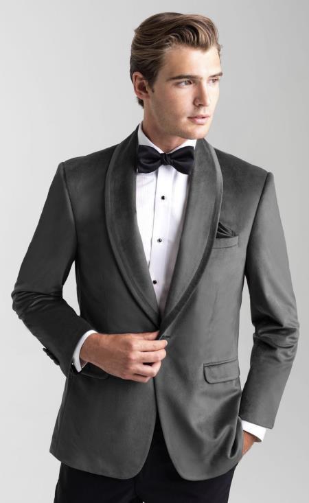 Mens Velvet Dinner Jacket - Mens Tuxedo Blazer With Trim Shawl Collar Black