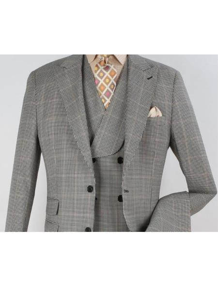 Mens Wool Suit - Pleated Pants - Double Breasted 6 Button Vest - Fashion Suit