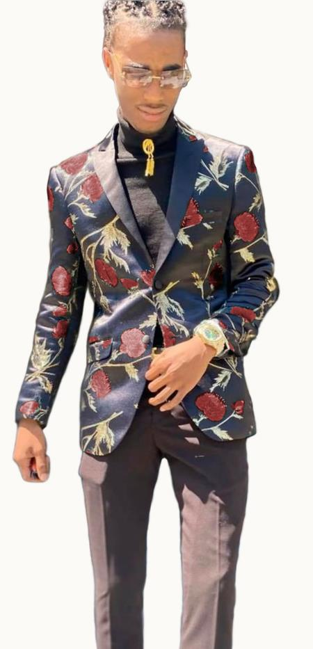 Paisley Blazer - Floral Blazer Matching Bowtie Burgundy