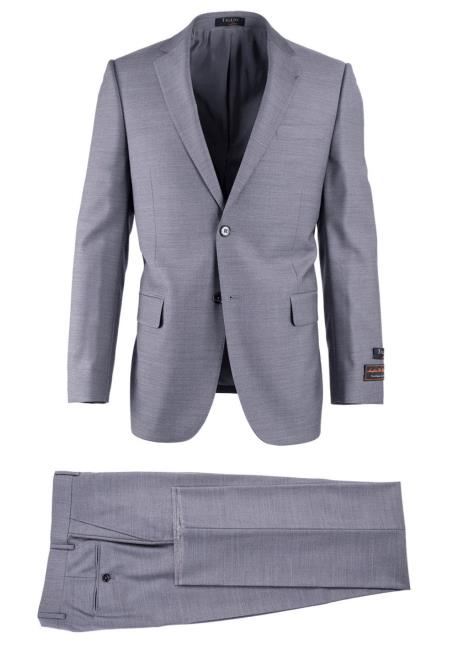 SM4737 Men's Light Gray Pure Wool 2 Button Novello Modern Fit Luxe Suit