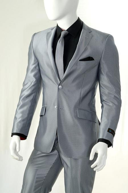 AC-910 Shiny Silver Gray ~ Grey Light Flashy Slim narrow Style Look Suits for Online