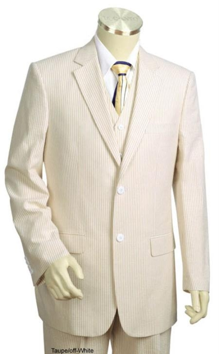 SR3417 3pc 100% Cotton Summer Seersucker Fabric Suits for Online Taupe