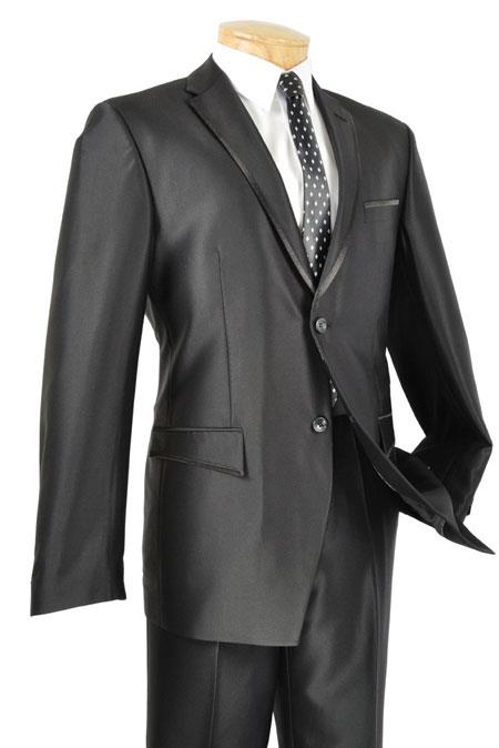 AC-916 Liquid Jet Black Shiny Two Button Fitted Skinny Fit Suit