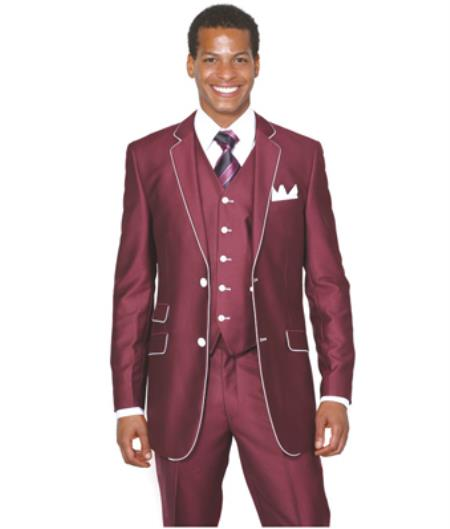 MK426 Slim narrow Style Suit by Milano Moda Burgundy Shiny 3 Piece Wine Maroon