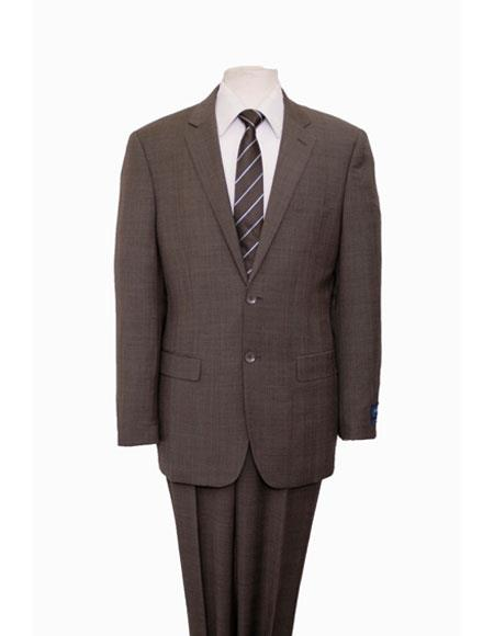 MW132 ZeGarie Men's Plaid Pattern Dark Taupe Single Breasted