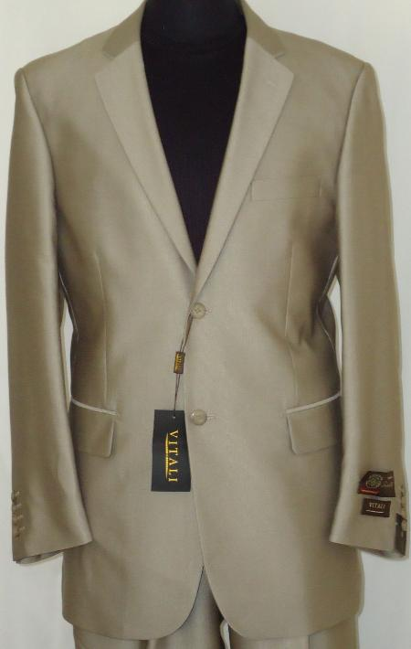 BGE3343 Designer 2-Button Shiny Beige Sharkskin Suit