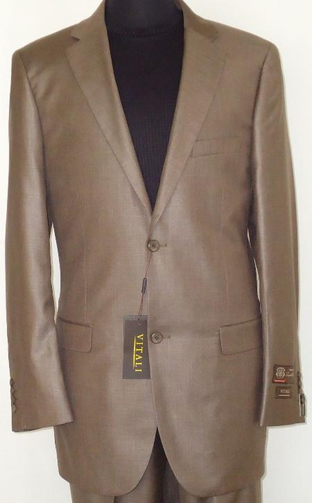 COA2924 Designer 2-Button Shiny Cocoa brown color shade Sharkskin Suit