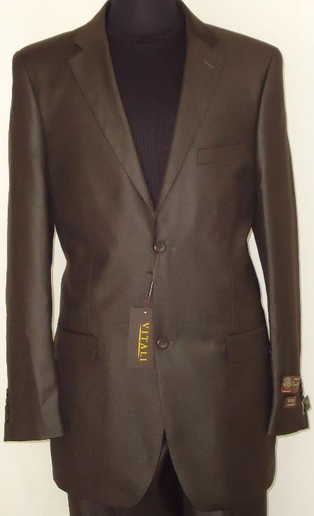 DBW7813 Designer 2-Button Shiny Dark brown color shade Sharkskin Suit