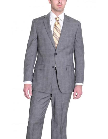 JSM-6070 Mens Light Gray Glen Plaid Wool Classic Fit 2 Button Single Breasted Suit
