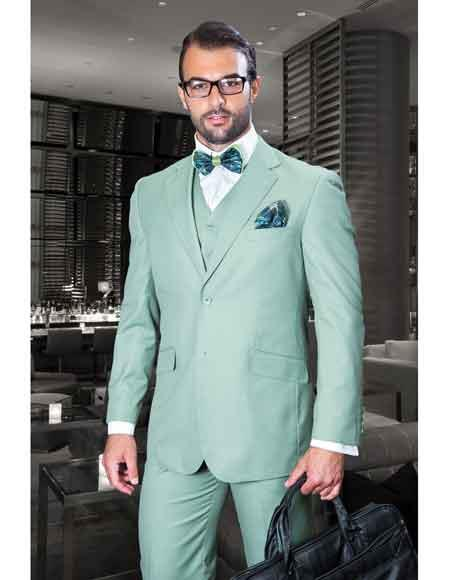 JSM-1093 Men's Sage Notch Lapel 3 Piece Italian Fit With Side Vents Vested Suits